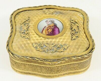 Antique French Ormolu Hand Painted Portrait Miniature Box