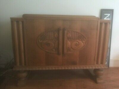 Vintage Art Deco Sideboard Light Oak 1930's Cabinet Bulbous Design Classic Chic