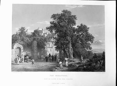 THE MONASTERY c1876 Antique Engraved Print, Picturesque Europe