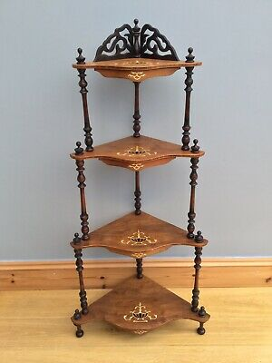 Antique Victorian Whatnot Corner Shelving Inlaid Vintage Display Unit Old 4 Tier