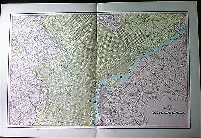 Rare c1890 New Driving Map of Philadelphia, Map With Street Names. Tinted Litho