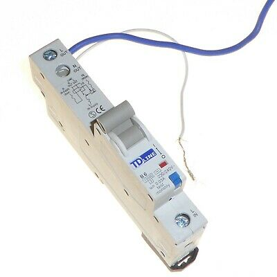 6 Amp 30mA trip RCBO breaker RCD MCB Type B 10kA single pole TD Line B6 240V