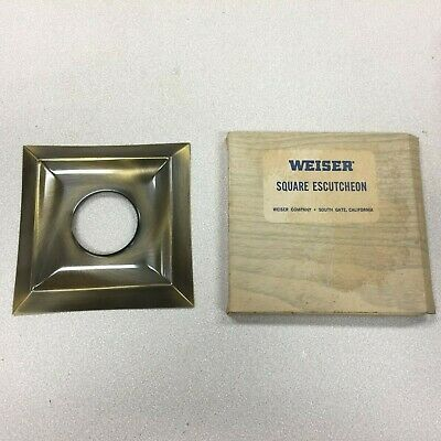 H-89 New Old Stock 1950's Diamond or Square Brass Door Knob Backing Plate MCM