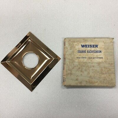 H-91AI New Old Stock 1950's Diamond or Square Bronze Door Knob Backing Plate MCM