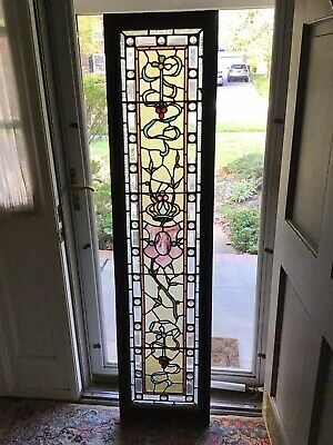 "Antique Early 1900s  5' 6"" Stained Glass Leaded Glass Window - Jeweled"