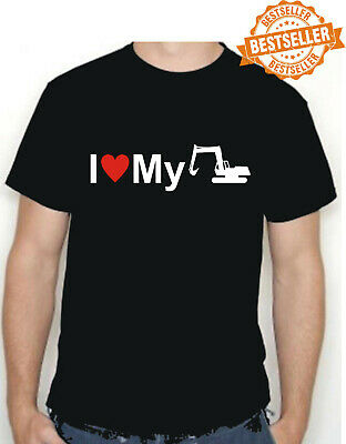 I Love My EXCAVATOR T-Shirt / DIGGER / Funny Gift / Xmas / Birthday / All Sizes