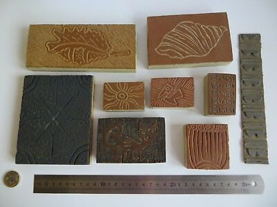 Vintage Retro Linoleum Wood Lino Cut Handmade Print Printing Stamp Block Job lot