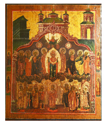 Antique 19th C Russian Wooden Icon (45 cm) the Protection of the Mother of God
