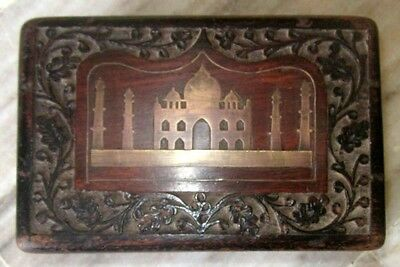 1950s Indian Vintage Hand Carved Taj Mahal Brass Fitted Wooden Box
