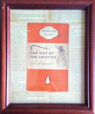 ORIGINAL WALL ART. DAY OF THE TRIFFIDS VINTAGE BOOK COVER 30 X 25cm. FRAMED.