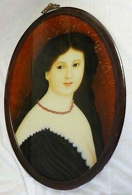 Antique Reverse Glass Painting American Portrait Young Lady Early 20th Century