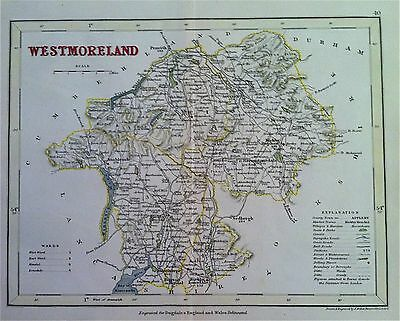 Map of WESTMORELAND c1840 County map, color, by Archer for Dugdales England