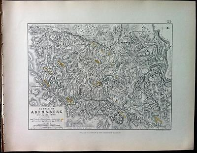 Map, Battle Plan ABENSBERG c1809, Napoleonic War, Engraved A K Johnston, Hcol