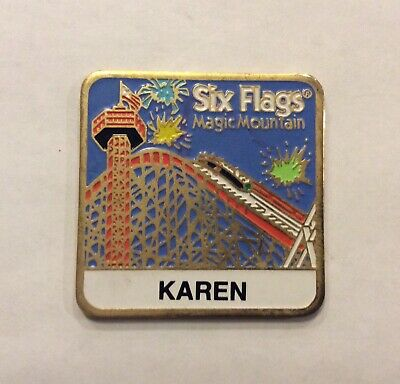 Six Flags Magic Mountain 1996 Vintage Metal Fridge Magnet