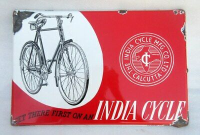Vintage India Cycle Co. Ad Porcelain Enamel Sign Board Old Rare Collectible Sign