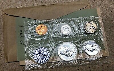 1958 US 5 Coin Proof Set Original Cello Packaging Nice Franklin