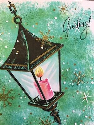 1967 Mid Century Vintage Christmas Greeting Card Pink Candle Gold Snowflakes