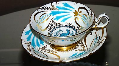 Gorgeous Royal Chelsea Turquoise Blue Bird Gold Gild footed cup and saucer