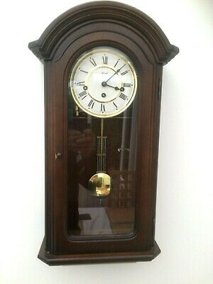 Vintage Hermle 8 Day Mahogany Westminster Chimes Wall Clock