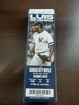 New York Yankees Kansas City Royals MINT Season Ticket 4/20/19 2019 MLB Stub