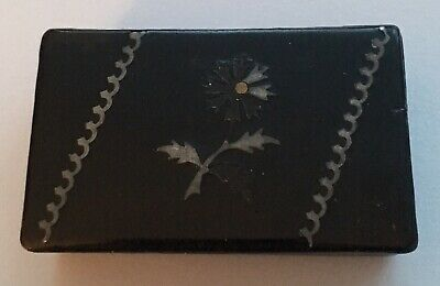 ANTIQUE GEORGIAN PAPERMACHE SNUFF BOX with PEWTER INLAY