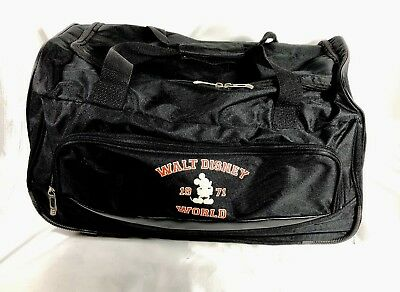 "Vintage Disney 19"" Rolling Wheeled Tote Duffle Bag Luggage Travel Suitcase Black"