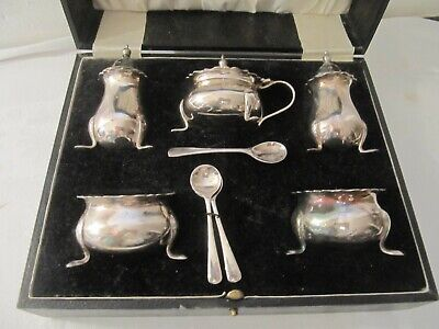 David Summerfield Boxed Cased Silver Plated Edwardian Style Cruet Set