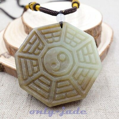 Certified 100% Natural Brown Green Jade Nephrite Pendant Hand-carved Taiji V4392