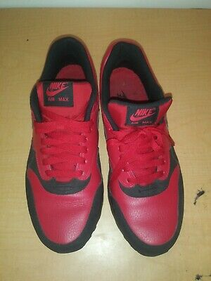 size 40 6bc41 bd992 Nike Air Max 1 LTR Leather Premium Gym Red Black Sz 10 705282 600.