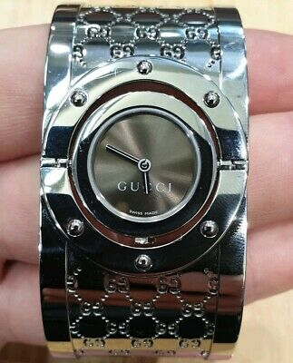 2785687a52a Gucci YA112401 112 Twirl Ladies Brown Dial 33mm Wide Stainless Steel Watch
