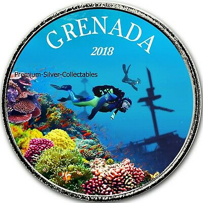 2018 Grenada Diving Paradise - 1 Ounce Pure Silver Colorized E8 coin #4 Series!!