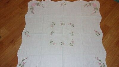"Vintage Linen Tablecloth with Embroidered Pink Roses 48"" x 48"""