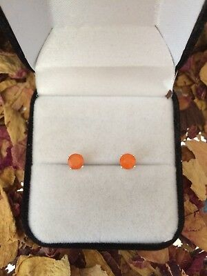 Neon natural Mexican Fire Opal 4mm round facet sterling silver stud earrings 🔥