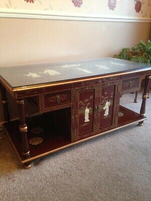 Chinese Vintage Mother of Pearl Laquer table and side table MOP