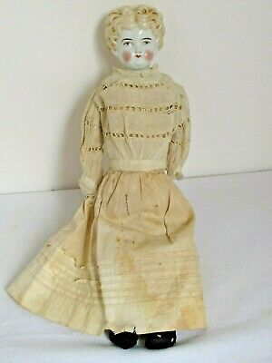 """Antique 17"""" German Blonde China Head Doll Old Clothes"""