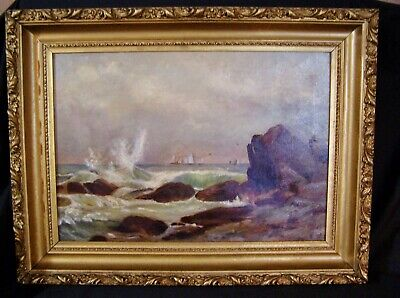 Antique ORIG OIL PAINTING on Canvas SEASCAPE Ocean Water Waves DEEP GOLD FRAME