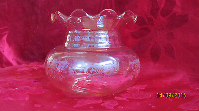 Art Deco acid-etched w/ clear glass frills lamp shade