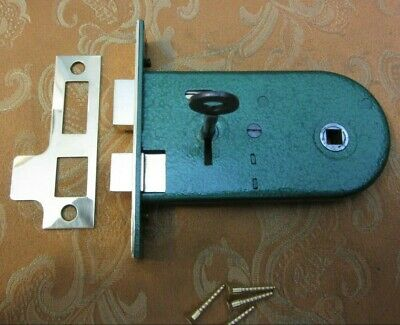 Old Vintage 1930's Victorian Style 2 lever Horizontal Mortice Lock 1 working Key