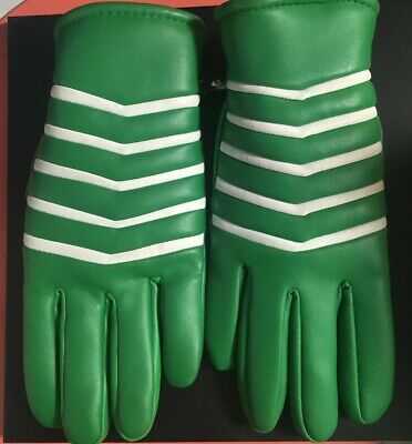 Vintage Green 1970s Finale Brand Driving Gloves Cold Weather Retro 100% Vinyl MC