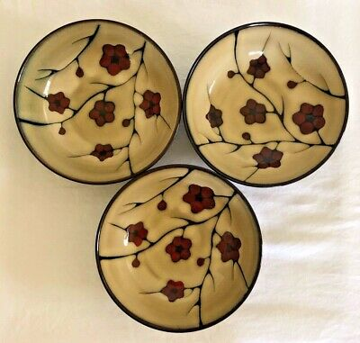 Pfaltzgraff Studio Aster Soup/Cereal Bowls Red Flowers Brown Set of 3