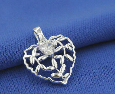 925 Sterling Silver Grass Vine Braided Heart Crystal Pendant Jewelry +chain