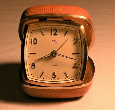 Vintage ELGIN TRAVEL WINDUP ALARM CLOCK Luminous WEST GERMANY CLAM SHELL CASE