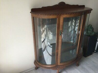 Vintage Curved Glass Display Cabinet - Original condition