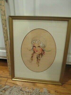 1909 Signed Ann Pallister Portrait Gibson Girl Dutch watercolor painting framed