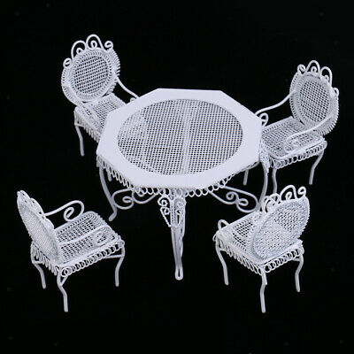 1:12 Dollhouse Furniture Modern White Octagonal Table Chairs Miniature Set