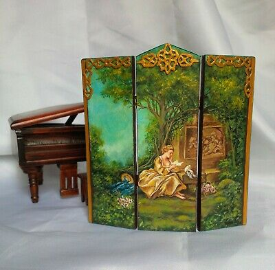 Dollhouse miniature painted wood screen room divider OOAK artisan Rococo style