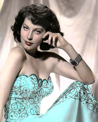 """AVA GARDNER, 3 HOLLYWOOD ACTRESS & MOVIE STAR 8x10"""" HAND COLOR TINTED PHOTOGRAPH"""