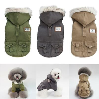 New Small Pet Dog Puppy Plush Hoodie Military Coat Cat Jacket Clothes Costume