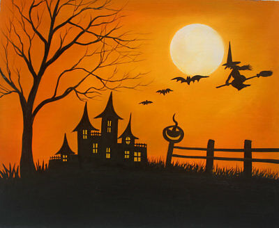 ORIGINAL Modern Wall Art Halloween Abstract Oil Painting Canvas Home Decor w12