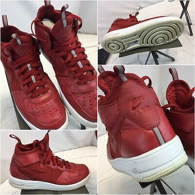 reputable site aad04 d85ad Nike Air Force 1 Sz 10 Red Leather High Top Basketball Shoes EUC YGI D9S-